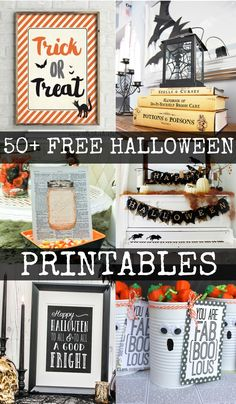 50+ amazing Halloween printables.  Get lots of free, adorable, spooky art to get your home ready for Halloween.