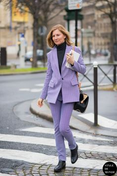 suited up. #ElizabethVonGuttman in Paris.