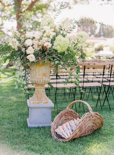 Captivating rattan basket alongside a beautiful large floral statement Greek Garden, Blue Garden, Wedding Favors For Guests, Wedding Boxes, Wedding Events, Wedding Day, Wedding Ceremony, Wedding Stuff, Colored Wedding Gowns