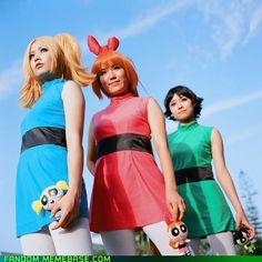 Powerpuff Girl cosplay (Bubbles, Blossom, Buttercup)