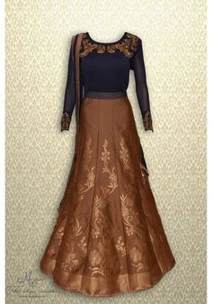 Magnificent navy blue and brown frock suit with rich embroidery at neckline and brocade flare