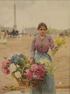 paintings of women with flowers Belle Epoque, Painted Cottage, Art Costume, Painting People, Victorian Art, Vintage Artwork, Flower Market, Fantasy Landscape, Color Of Life