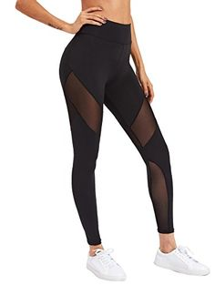 60e2837b06 Verochic Women s Stretchy Skinny Sheer Mesh Insert Workout Leggings Yoga  Tights  leggings  pants