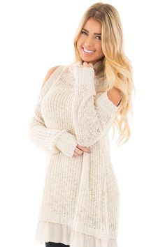 16528a0d43 Lime Lush Boutique - Oatmeal Cold Shoulder Mock Neck Knit Sweater