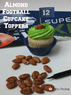 Party Pinching is a great source for Super Bowl Party Food Ideas like the Almond Football Cupcake Toppers - great for football parties! Super Bowl Party, Cupcake Toppers, Cupcake Cakes, Cup Cakes, Super Bowl Essen, Superbowl Desserts, Football Cupcakes, Party Food And Drinks, Baking Cupcakes