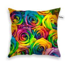 Coloured Roses Throw Pillow Case