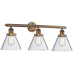 A beautiful design for the bath or vanity with three lights, clear glass, and a lovely oil rubbed bronze electro-plated finish. Style # at Lamps Plus. Bronze Bathroom, Bathroom Light Fixtures, Bathroom Lighting, Master Bathroom, Wall Lights, Ceiling Lights, Let Your Light Shine, Overhead Lighting, Bath Light