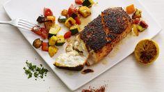 poisson en croute et ratatouille a la plancha