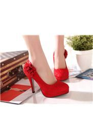 Shinning Red Pu Stiletto Heels Prom Shoes Evening Shoes