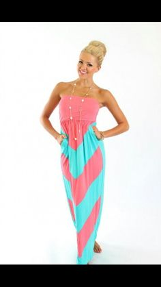Neon Pink and Blue Ruffle Maxi Dress  cute clothing  Pinterest ...