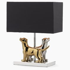 Pair of dogs, one in gold, one in silver table lamp with rectangle shade. Lamp, Silver Table Lamps, Floor Lamp, Home Lighting, Lighting, Novelty Lamp, Light Fittings, Dar Lighting, Pendant Lighting