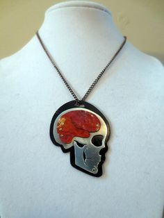 Layered Copper/Aluminum Anatomical Skull by AnatomicalElement, $55.00