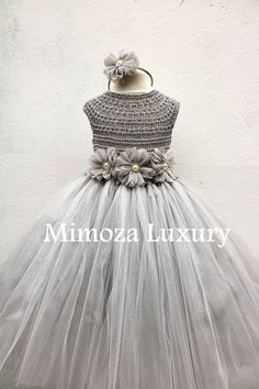Super exquisite tutu dress in silver grey gray color Lovely and Unique Handmade Dress, perfect for your special birthday party, wedding, christening or special occasion! The flower sash and the head piece of you choice are included! The dress is made to order with lots of love by Mimoza Mommy Daughter Dresses, Little Girl Dresses, Crochet Tutu Dress, Tulle Dress, Vestidos Color Plata, Flowergirl Dress, Princess Tutu Dresses, Girl Fashion, Fashion Dresses