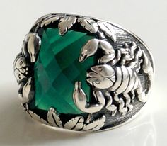925 STERLING SILVER MEN'S RING WITH SCORPION EMERALD #Handmade