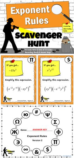 This packet includes two (2) versions of the Exponent Rules Scavenger Hunt activity - a total of 24 cards. $
