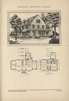 Unusual Colonial home by Architect Andrew Charles Borzner.  The book of beautiful homes. by Andrew C. Borzner  Published 1932  BookReaderImages.php (607×878)