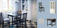 INGARTORP black-brown drop-leaf table seats 2-4 with STEFAN brown-black chairs and HEMNES white glass-door cabinet