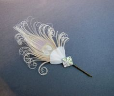 Ivory White Peacock Feather Bobbie Pin, Fascinator, Hair Accessory. Bridal Head Piece, Bridesmaid, Batcakes Couture on Etsy, $18.99