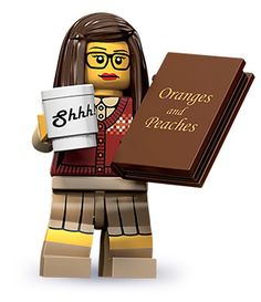 """Official """"Librarian"""" LEGO minifigure! If you read all the way to the bottom of this post, there are plenty of fun unofficial versions too. My favorite is either the """"What do you mean there's no coffee!?"""" one, or possibly """"Even though I'm smiling, I actually hate you. I really, really hate you."""" :)"""