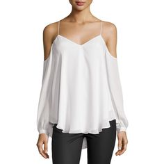 Haute Hippie Silk Cold-Shoulder Blouse (7.038.585 VND) ❤ liked on Polyvore featuring tops, blouses, ant ivoire, cold shoulder blouse, ivory blouse, v neck blouse, silk tie blouse and haute hippie blouse