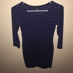 Blue body con dress with black stripes This is a blue body con dress with black stripes. It's perfect for a night out. Forever 21 Dresses Mini