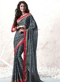 Opulent Party Wear Chiffon And Brasso Saree
