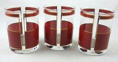Georges Briard 3 Vintage Glasses Double Old Fashioned Gold Rust Red Barware MCM #MidCenturyModern