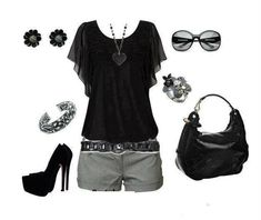 Black and grey.love black and grey combos. Mode Outfits, Short Outfits, Summer Outfits, Casual Outfits, Fashion Outfits, Casual Dressy, Classy Casual, Smart Casual, Fasion