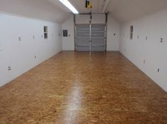 Waferboard floor - sanded smooth with thick polyurethane finish.