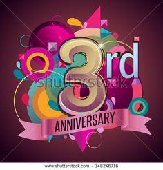 3rd years anniversary wreath ribbon logo, geometric background - stock vector