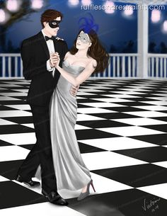 To celebrate New Year's Day, I thought create a festive illo, so I decided on a scene from Fifty Shades Darker!