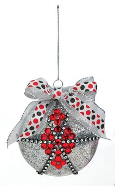 Nicole™ Crafts Red, Black and Silver Disc Ornament #ornaments #craft #christmas