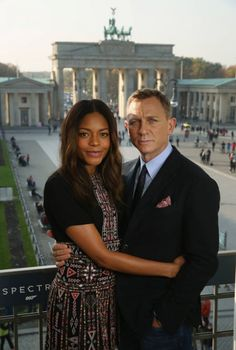 Actress Naomie Harris and Daniel Craig in Berlin promoting Spectre [2015]