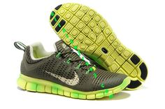 Nike Free Powerline II Mens Tarp Green Volt Gradual White 555306 330