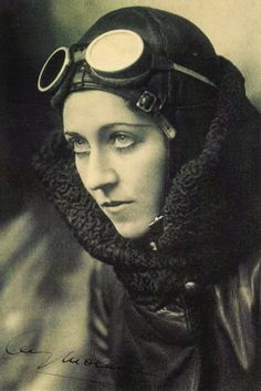 Amy Johnson (1903-1942) pioneering English aviator. The first aviatrix, to fly solo 11,000 miles (18,000 km) from England to Australia (in a Gipsy Moth), with a co-pilot she flew London to Moscow in one day, and then across Siberia and on to Tokyo, setting a record time for flying from Britain to Japan
