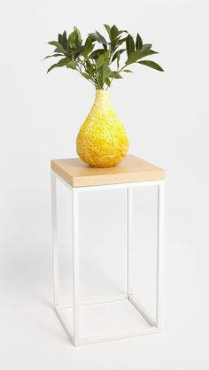 Square Natural and White Side Table