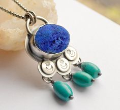 Raw Azurite and Turquoise Necklace Handcrafted by EONDesignJewelry