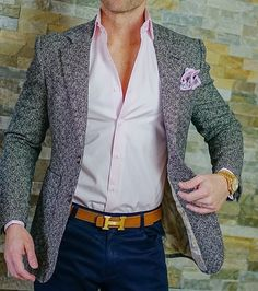 S by Sebastian Pink Dress Shirt Formal Jackets For Men, Stylish Jackets, Upscale Menswear, Traje Casual, Smart Casual Men, Casual Outfits, Fashion Outfits, Women's Fashion, Sharp Dressed Man