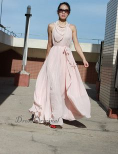 Nude Maxi dress, Nude dress Nude Sundress, Custom dress, plus size dress, bridesmaid dress, Formal Evening Prom Gown,graduation dress ★ Material : chiffon ★Color: Please choose color in the last pic. 10 main colors available. We could custom make this skirt at any color you want.