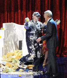 Bill Murray jumps out of giant cake, when he makes his final appearance on the Late Show with David Letterman