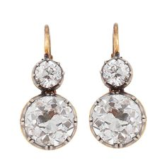 1stdibs | Diamond, Gold & Silver 2-Stone Earrings