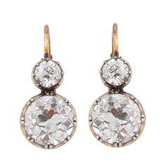 1stdibs | Diamond, Gold & Silver 2-Stone Earrings