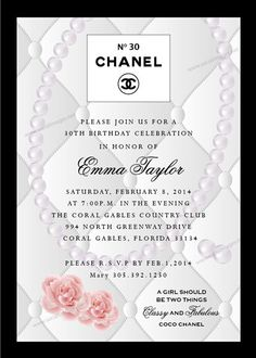 Coco Chanel Baby Shower Invitations Classy and Chic Baby Shower