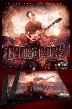 Gods Of Rock CD Cover Template A great cd cover template for hard rock, heavy metal, horror core or any other rock music genres.