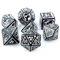 RPG Dice Set (Radioactive Nuke Black) role playing game dice