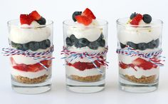 Red White and Blue Mini Cheesecake Trifles.  Super easy and no bake.  Perfect for summer!