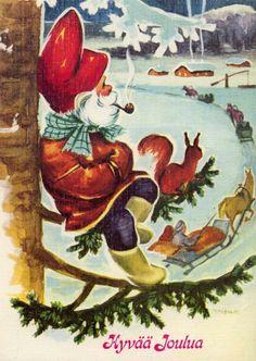 Irma Salmi Christmas Paper Crafts, Scandinavian Christmas, Vintage Christmas Cards, Christmas Art, Kobold, New Year Postcard, Old Postcards, Leprechaun, Jingle Bells