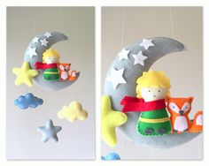 Baby mobile - The Little Prince mobile - Moon mobile - Le Petit Prince - Crib Mobile Moon - Baby Mobile Stars by lovefeltmobiles on Etsy https://www.etsy.com/listing/472479065/baby-mobile-the-little-prince-mobile