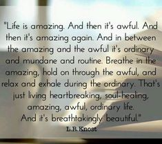 """""""Life is amazing. And then it's awful. And then it's amazing again. And in between the amazing and the awful it's ordinary and mundane and routine. Breathe in the amazing, hold on through the awful, and relax and exhale during the ordinary. That's just living heartbreaking, soul-healing, amazing, awful, ordinary life. And it's breathtakingly beautiful."""" L.R.Knost"""
