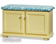 DIY Furniture - Entryway bench with storage from kitchen cabinets